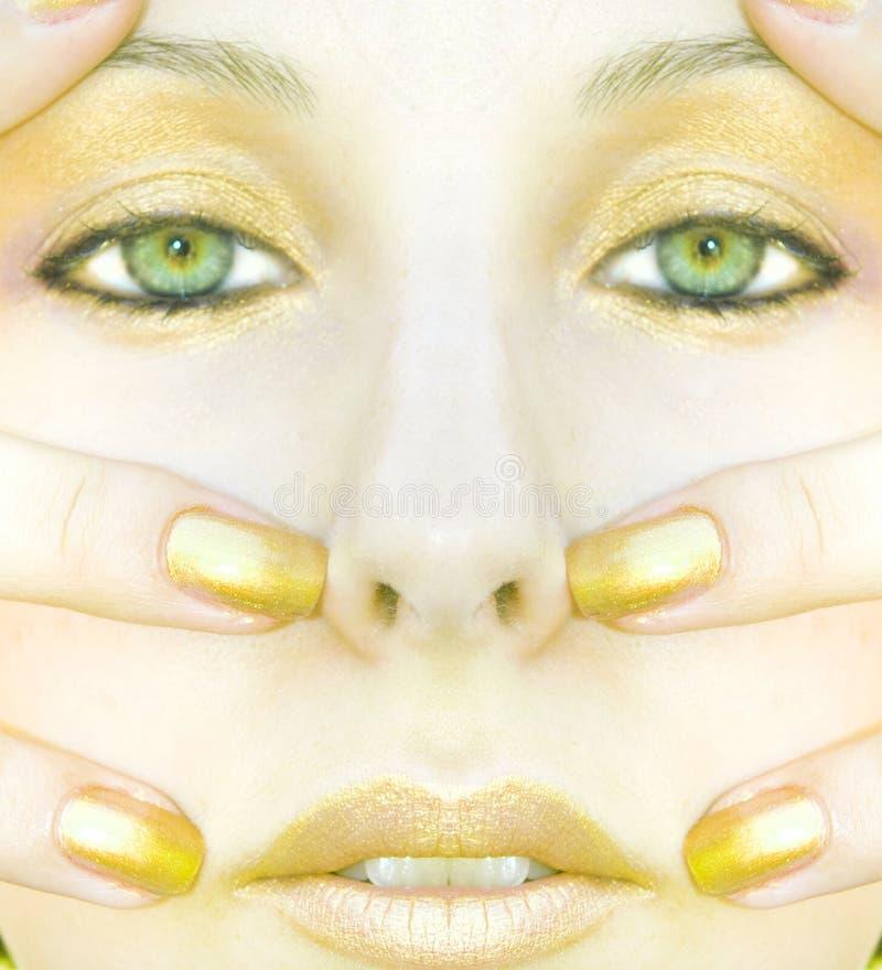 Fronte della donna dell'oro immagine stock