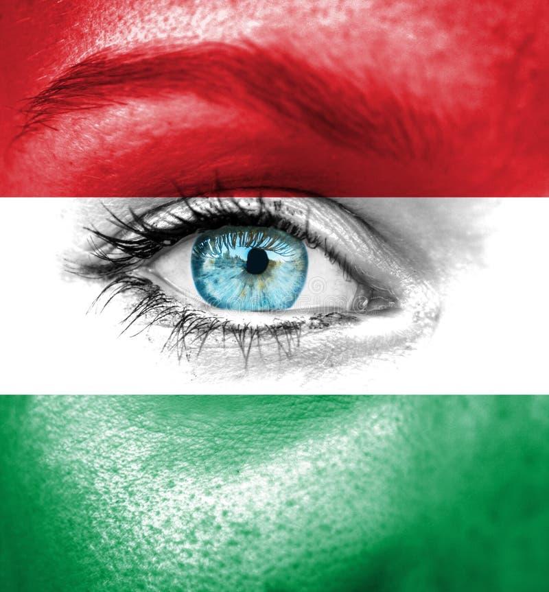 Fronte della donna dipinto con la bandiera dell'Ungheria immagini stock libere da diritti