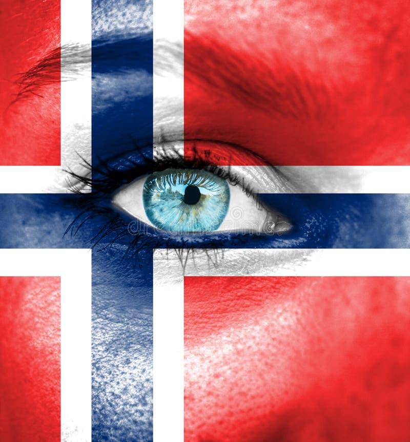Fronte della donna dipinto con la bandiera della Norvegia fotografia stock libera da diritti
