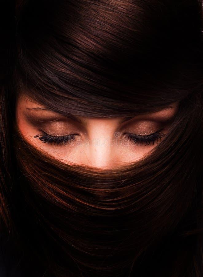 Fronte della donna e dei capelli fotografia stock libera da diritti