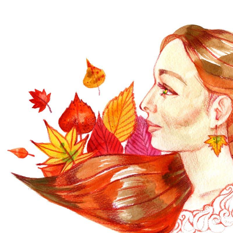 Fronte della donna Illustrazione dipinta a mano dell'acquerello Simbol di caduta Illustrazione di autunno royalty illustrazione gratis