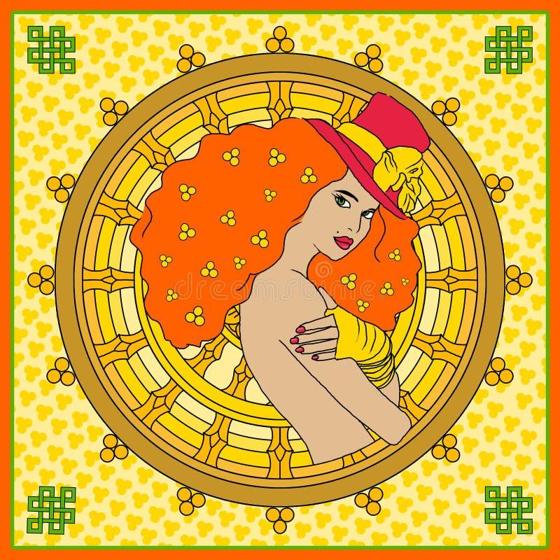 Fronte della donna Illustrazione dipinta a mano di modo illustrazione di stock