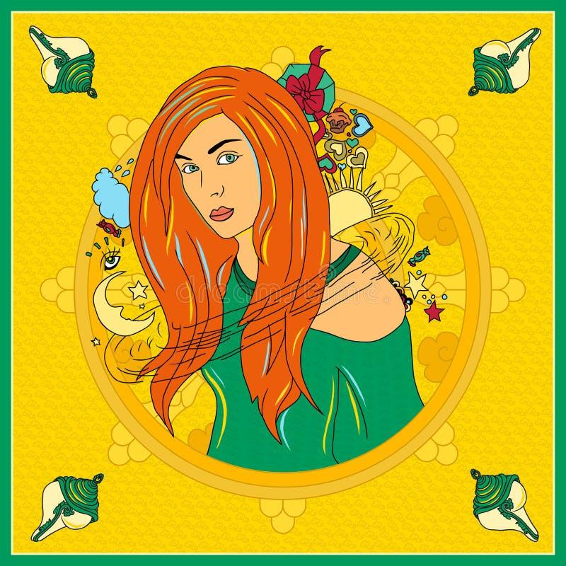 Fronte della donna Illustrazione dipinta a mano di modo illustrazione vettoriale