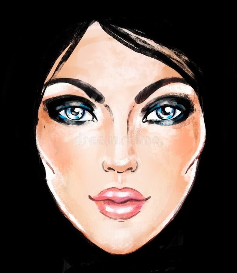 Fronte della donna Illustrazione dipinta a mano di modo isolata sopra blac illustrazione vettoriale