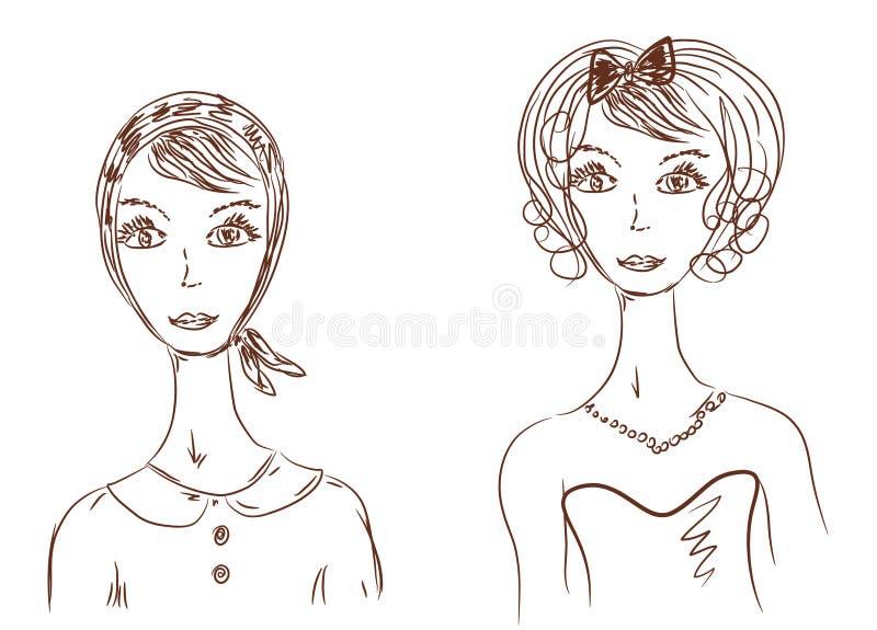Fronte della donna nelle immagini differenti illustrazione di stock