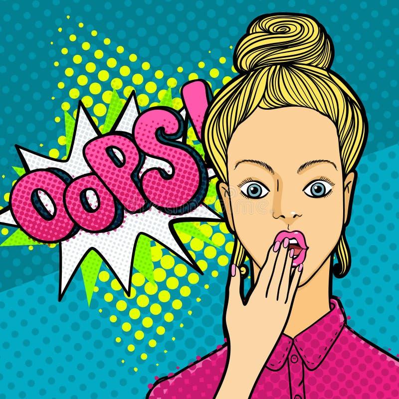 Fronte della donna nello stile di Pop art royalty illustrazione gratis