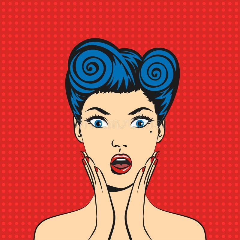 Fronte della donna sorpreso Pop art con la bocca aperta royalty illustrazione gratis