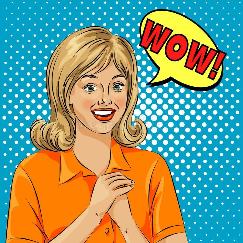 Fronte della donna sorpreso Pop art della bolla di wow Illustrazione di uno stile comico, fumetto di Pop art della ragazza illustrazione di stock