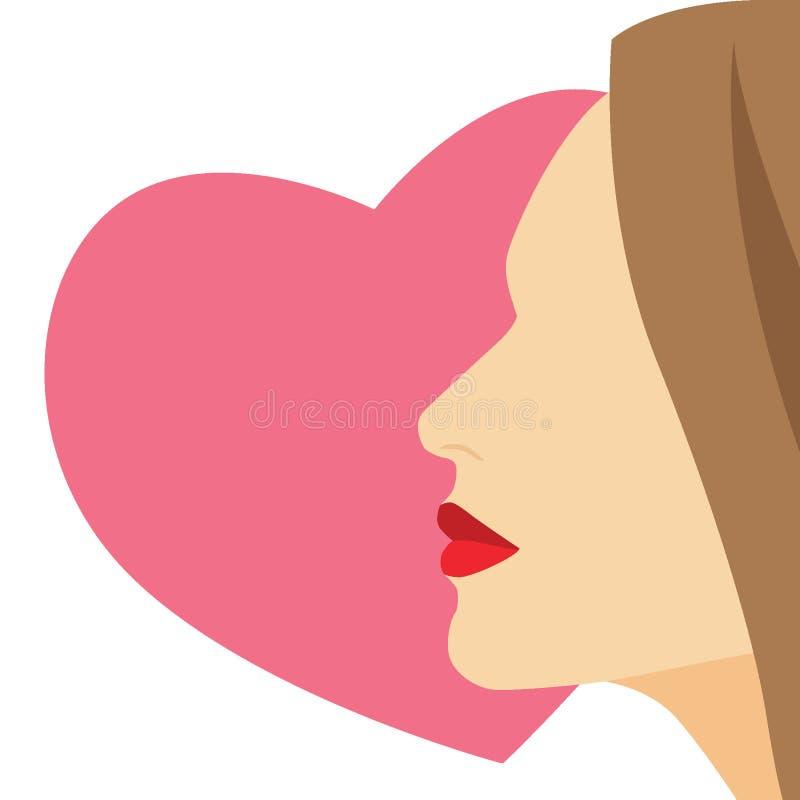 Fronte della donna su un'illustrazione bianca del fondo del hearton di rosa illustrazione di stock