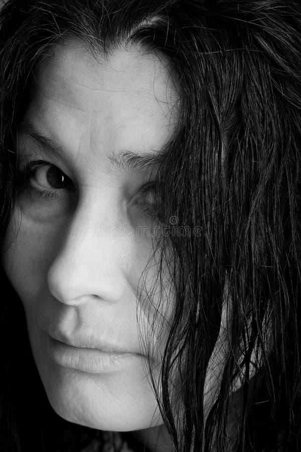 Fronte della espressione-donna di emozione fotografie stock libere da diritti