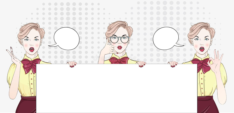 Fronte della femmina di Pop art di wow Giovane donna sorpresa sexy in vetri con la bocca e capelli neri e OMG aperti! fumetto bri illustrazione vettoriale