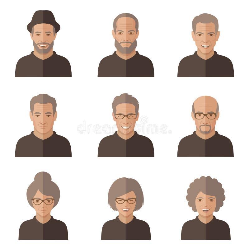 Fronte della gente anziana di vettore royalty illustrazione gratis