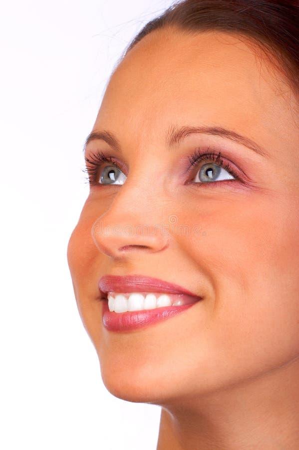Fronte della giovane donna. fotografia stock