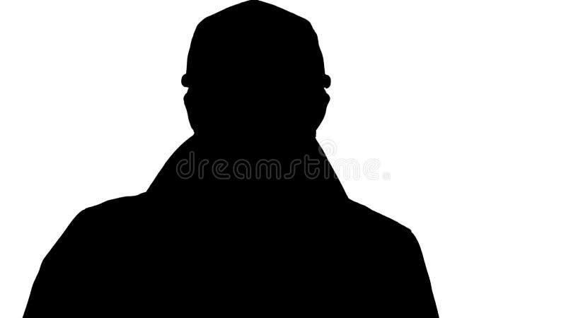 Fronte della siluetta dell'uomo bello facendo uso di una compressa digitale illustrazione vettoriale