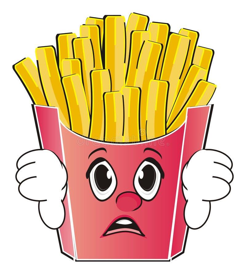 Fronte delle patate fritte con il gesto illustrazione vettoriale