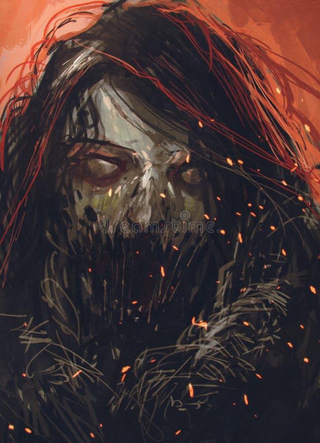 Fronte dello zombie, ritratto di orrore illustrazione di stock