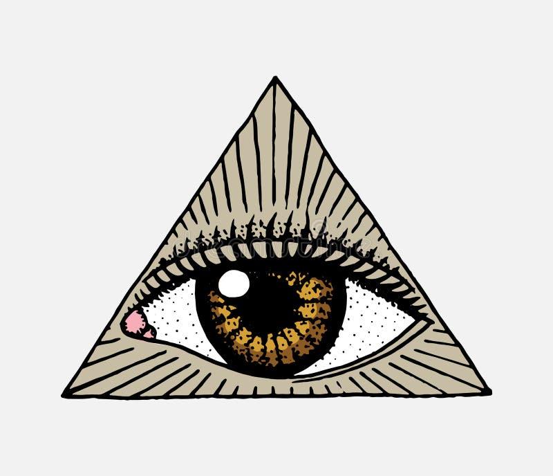 Fronte dettagliato vedere occhio nel triangolo Materiale illustrativo del tatuaggio di modo per le ragazze inciso disegnato a man illustrazione di stock