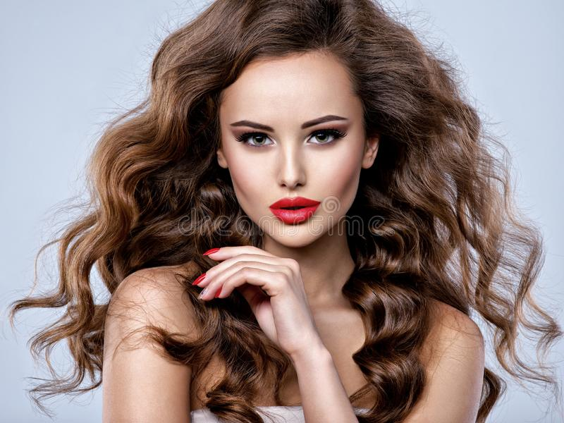 Fronte di bella donna con capelli marroni lunghi immagini stock libere da diritti