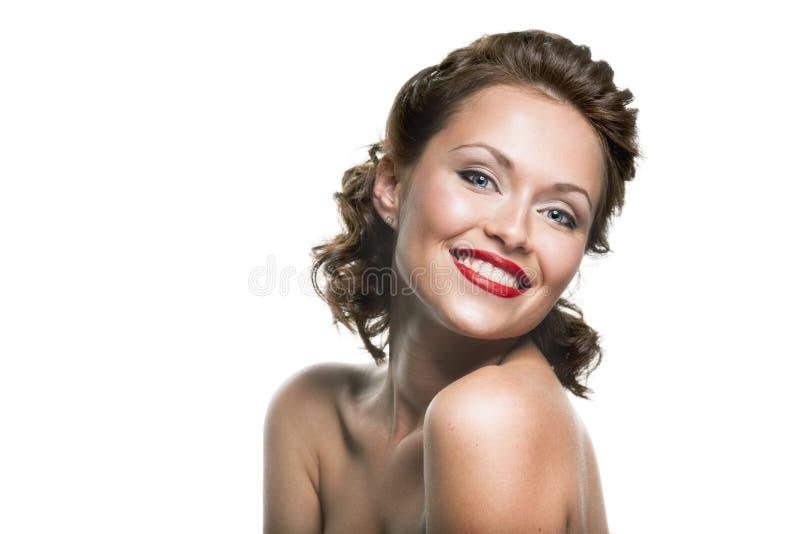 Fronte di bella donna felice del brunette immagini stock