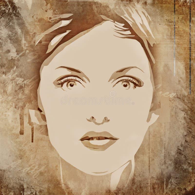 fronte di bella donna su una priorità bassa del grunge illustrazione di stock