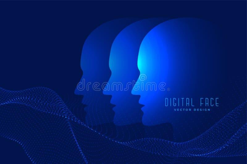 Fronte di Digital ai con il fondo di tecnologia del fronte della particella royalty illustrazione gratis