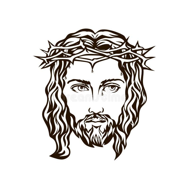 Fronte di Gesù disegnato a mano illustrazione di stock