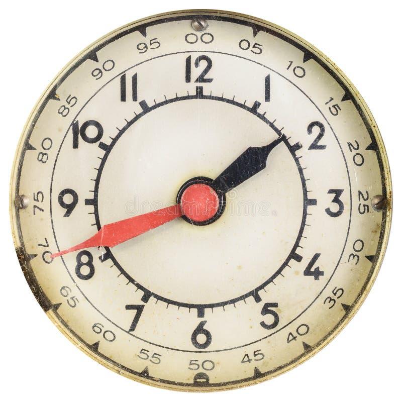 Fronte di orologio d'annata con le mani rosse e nere immagini stock