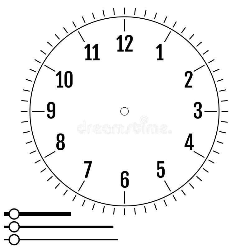 Fronte di orologio rotondo Progettazione per gli uomini Quadrante dell'esposizione in bianco del meccanico royalty illustrazione gratis
