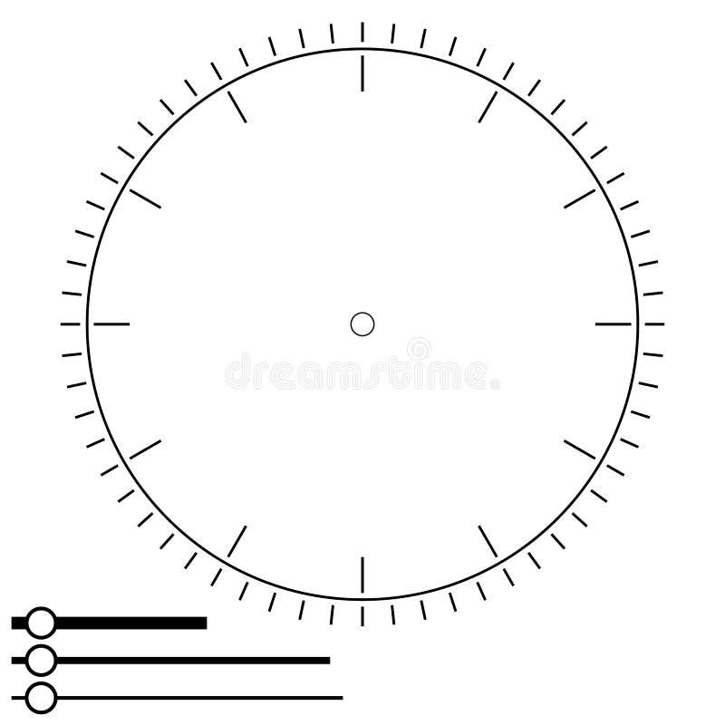 Fronte di orologio rotondo Progettazione per gli uomini Quadrante dell'esposizione in bianco del meccanico illustrazione di stock