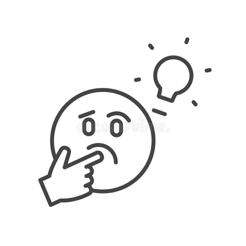 Fronte di pensiero sveglio con la lampadina, icona sospetta isolata Profilo moderno d'avanguardia di concetto di idea su fondo bi royalty illustrazione gratis