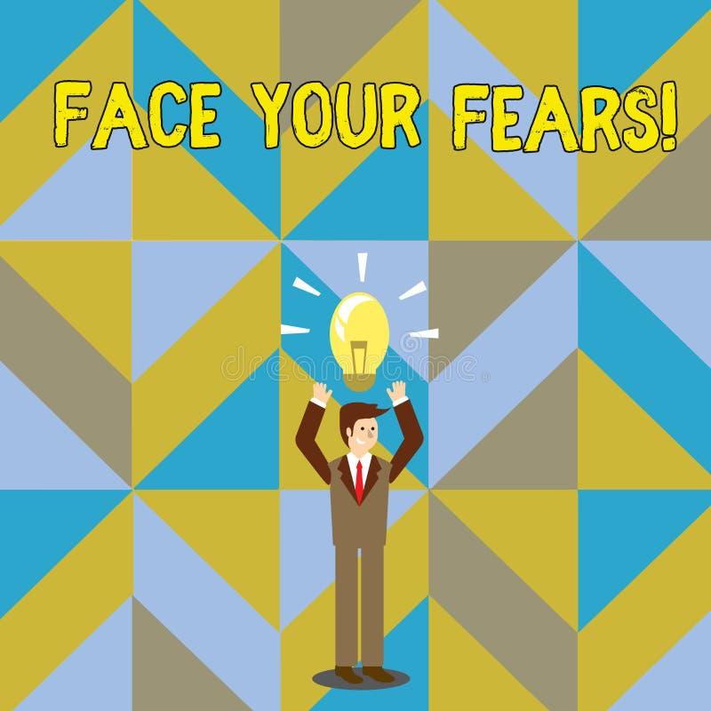 Fronte di scrittura del testo della scrittura i vostri timori Il significato di concetto vi riconosce è impaurito qualcosa e prov illustrazione di stock