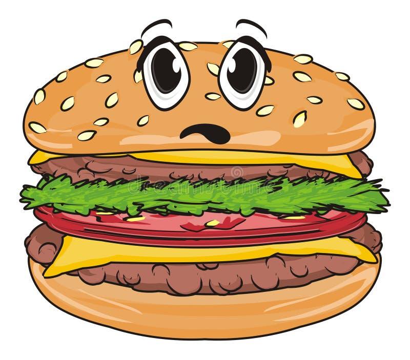 Fronte di sorpresa dell'hamburger illustrazione di stock
