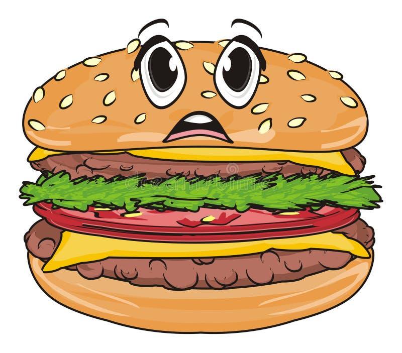 Fronte di sorpresa dell'hamburger royalty illustrazione gratis
