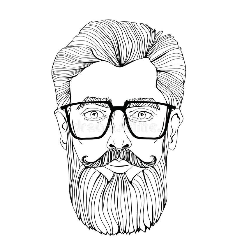 Fronte di un uomo barbuto con i vetri Illustrazione del ritratto di vettore, su fondo bianco illustrazione di stock