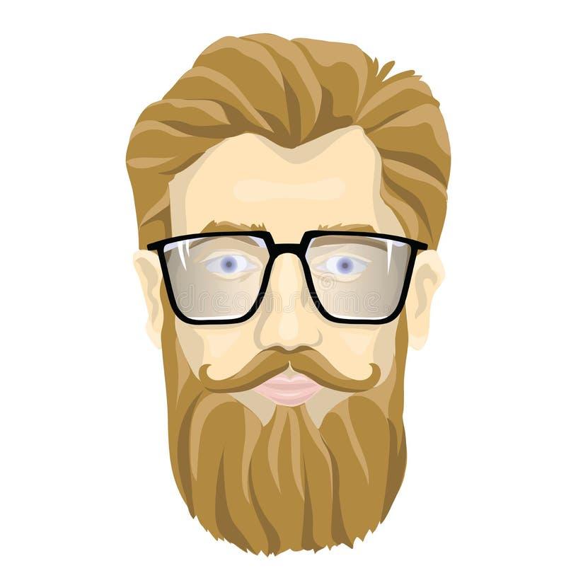 Fronte di un uomo barbuto con i vetri Vector l'illustrazione del ritratto, isolata su fondo bianco royalty illustrazione gratis