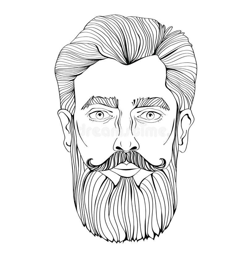 Fronte di un uomo barbuto Vector l'illustrazione del ritratto, isolata su fondo bianco illustrazione di stock