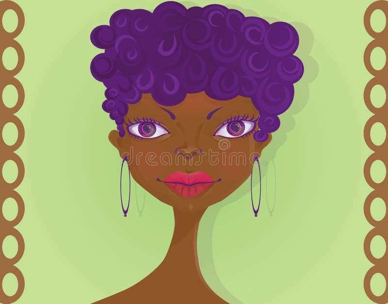 Fronte di una ragazza nera con l'acconciatura di afro illustrazione vettoriale