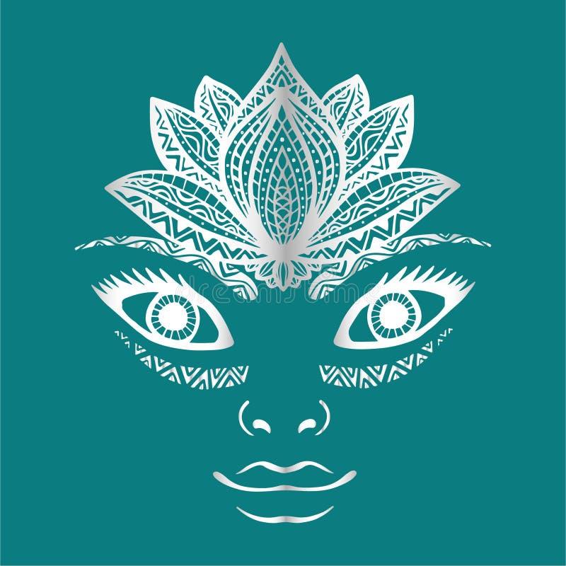 Fronte disegnato a mano della donna, bello ritratto del fronte grazioso della ragazza con la corona del fiore di loto come casco  royalty illustrazione gratis