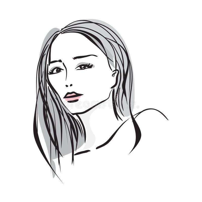 Fronte disegnato a mano della giovane donna illustrazione di stock