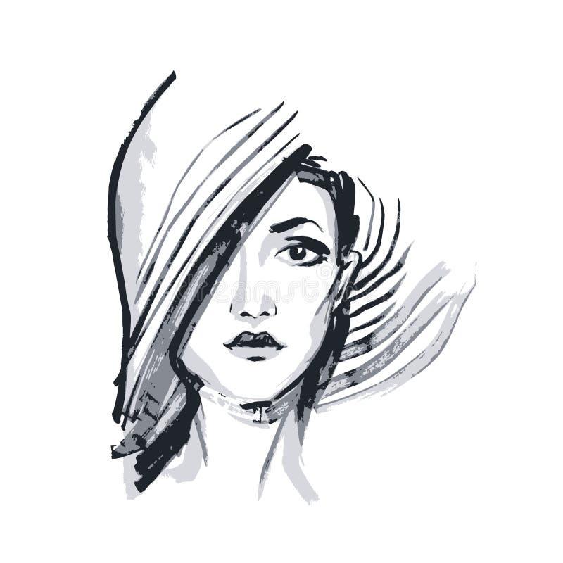 Fronte disegnato a mano della giovane donna royalty illustrazione gratis