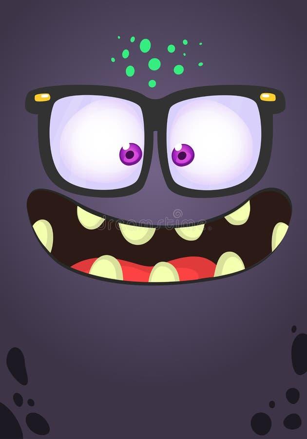 Fronte divertente del mostro del fumetto con gli occhiali Avatar del quadrato del mostro di Halloween di vettore royalty illustrazione gratis