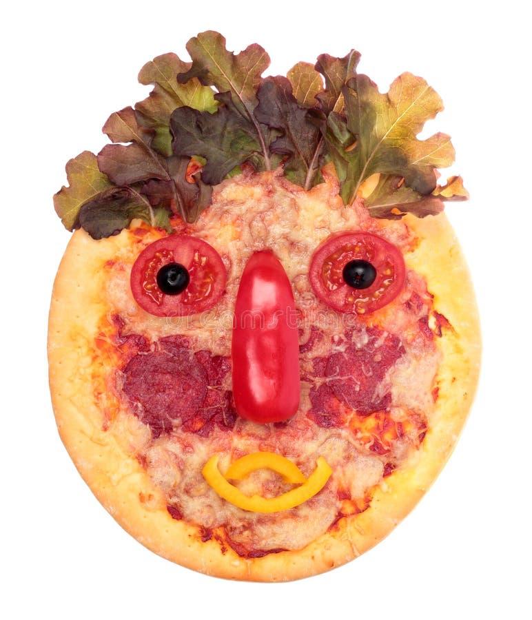 Fronte divertente della pizza fotografia stock libera da diritti