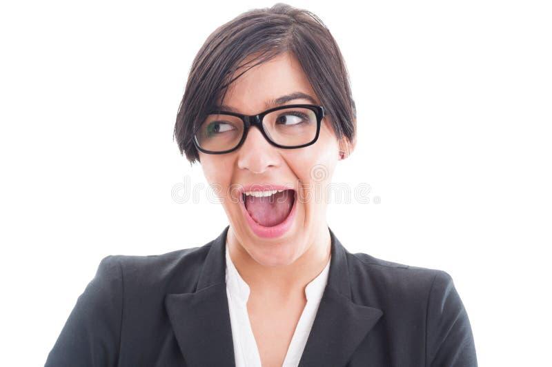 Fronte emozionante ed entusiasta della donna di affari immagini stock