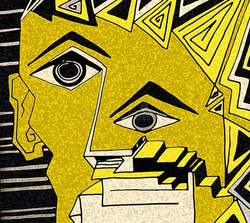 Fronte espressivo con gli occhi neri ed i dettagli geometrici illustrazione vettoriale