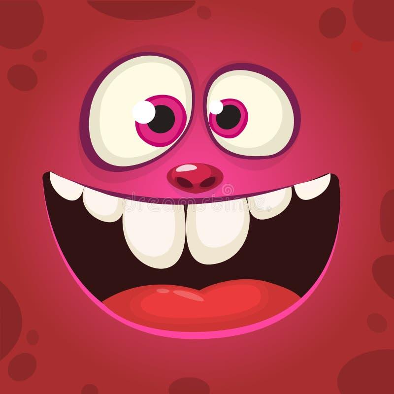 Fronte felice del mostro del fumetto con un grande sorriso Illustrazione del mostro di rosa di Halloween di vettore illustrazione vettoriale