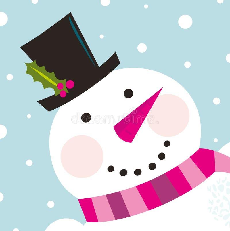 Fronte felice sveglio del pupazzo di neve con la nevicata illustrazione vettoriale