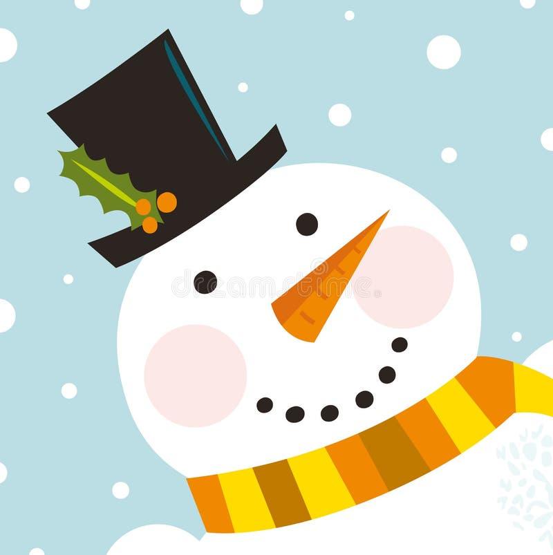 Fronte felice sveglio del pupazzo di neve con priorità bassa di nevicata illustrazione di stock
