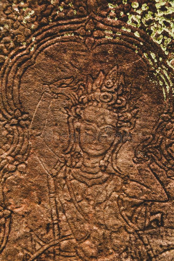 Fronte femminile Bas Relief Detail in Angkor Wat, Siem Reap, Cambogia, Indocina, Asia immagini stock