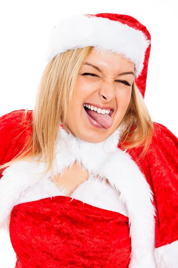 Fronte femminile divertente della Santa fotografia stock