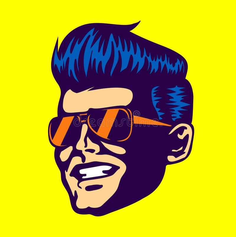 Fronte fresco d'annata dell'uomo del tizio, occhiali da sole dell'aviatore, taglio di capelli rockabilly del Pompadour royalty illustrazione gratis